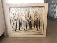 Winter woodland vintage painting