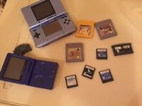 Nintendo DS console + advance SP, wireless adaptor, Zelda, Pokemon yellow, sims and more games