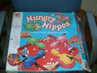 MB Games Hungry Hippos in clean used condition, box is a little worn and damaged.
