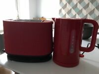 Red Bodum Kettle and Toaster