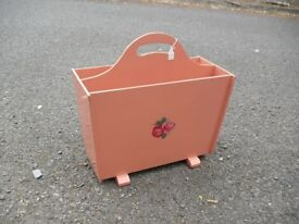 Lovely Vintage Painted Magazine Rack Tidy Floral Rose Chic Not Shabby