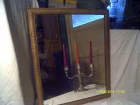 GOLD FRAMED RECTANGULAR MIRROR 21 inches by 17 inches . FRAME & OR In V.G.C. +++++