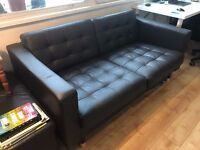 Leather 2-seat sofa couch 160cm x 90cm x 75cm