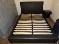 Black Faux Leather Double bed good condition