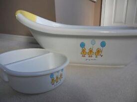 Mothercare Baby Bath, white, integral bath plug, excellent condition, £7