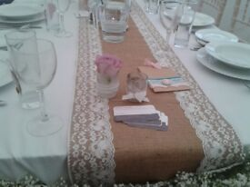 Vintage Hessian and Lace Table Runners