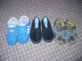 Bundle of 3 pairs of boy Adidas, M&S plimsoles and Clarks sandals size 8. Plimsoles like new.