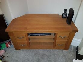 Solid wood 4 drawer corner tv cabinet with 3 shelves