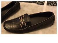 Men's Black & Gold Loafers Brand New