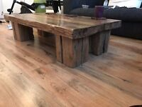 Beautiful handmade one off Wooden Coffee table and hand made coasters