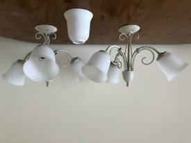 2 x 3 Light Ceiling Fixtures + 1 Spare Shade