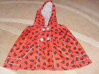 Pretty Cat Print Girls 2-3 years Red Coat