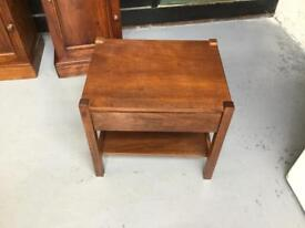 Small Solid Wood Table With Drawer & Shelf.