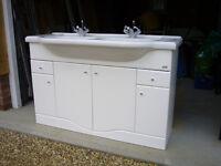 Vanity unit with double basin