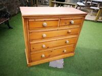 Victorian Pine Chest Of Drawers (Genuine Antique)