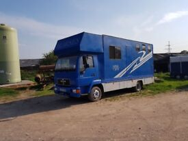 MAN 7.5t Horsebox - 46000 Miles. Living area and stalled for 3 horses. £5500 o.n.o