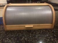 Beech Wood & metal screen bread bin