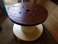 Big reclaimed cable drum/ wood/ coffee table/ garden furniture/ shabby chic