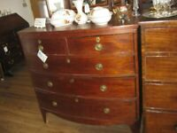ANTIQUE 19TH CENTURY LARGE BOW FRONTED CHEST OF DRAWERS