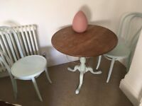 Pretty Victorian peddle stall table and two bistro chairs