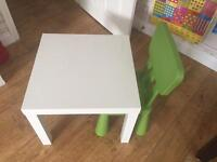 Ikea white table and chair