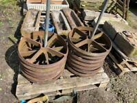Set of 4 Large heavy duty cast iron wheels