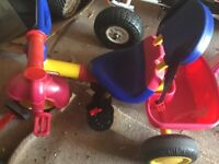LITTLE TIKES TRIKE -BOYS/GIRLS INC SEATBELT AND BACK REST + TRAILER (SOME ATTACHMENTS MISSING)