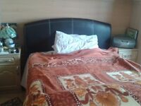 double king size bed leather