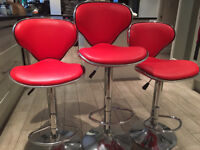 Duo Bar Stool Red - 3 pieces