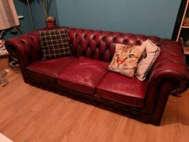 Vintage 3 Seater Leather Oxblood Chesterfield Sofa