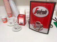 Segafredo Zanetti coffee shop starter pack (cups & saucers, beans, POS, napkins, milk jugs)