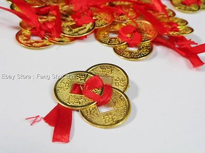 1x Set Gold Ribbon Tied Chinese Lucky Wealth Money I Ching Coin Amulet Charm #A