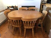 Extendable pine table and 6 chairs