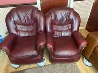 2 brown Arm chairs (faux leather)