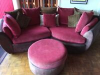 Curved 3 seater snuggle sofa and footstool