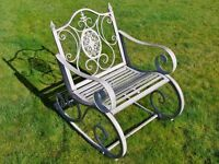Metal/Steel Garden Rocking Chair In Antique Aged Grey Indoor & Outdoors Porch