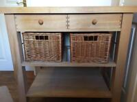 Eddingtons Two Drawer Lambourn Trolley With Solid Beech Top LAMBOURN 2 DRAWER TROLLEY 90X60X90