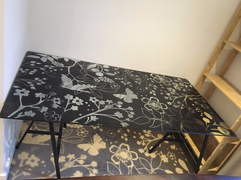 Ikea glass table desk - Ikea Glasholm Butterfly Pattern Glass Desk Table And Legs 30