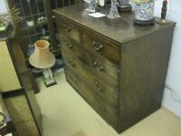 ANTIQUE VICTORIAN MAHOGANY CHEST OF DRAWERS. '2 OVER 3' DEEP DOVE-TAILED LAYOUT. VIEW/DELIVERY POSS