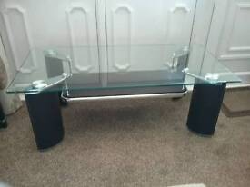 Coffee table & matching side table. (toughened glass, chrome and brown faux leather)