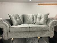 Ex display 3 seater chesterfield silver crushed velvet sofa £299