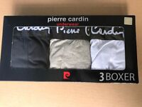 Brand New Genuine Pierre Cardin Mens Boxer Shorts Trunks Size L 3Pack BLACK,GREY,WHITE 100sales