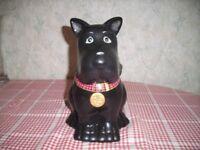 Cookie Jar in Shape of a Black Scottie Dog. 23 cm high