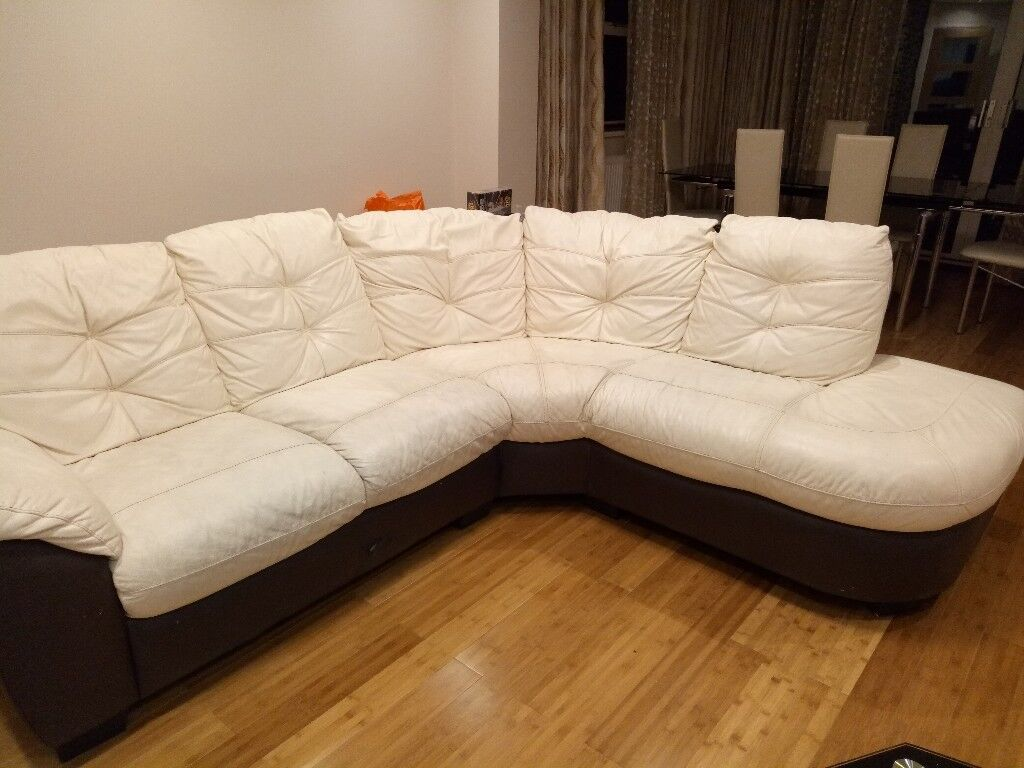 Dfs Corner Leather Sofa Cream And Brown