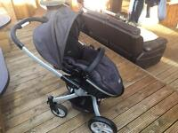 Graco 2 in 1 pram and forward and rear facing pushchair carry cot