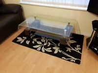 Modern Black Rectangle Clear Glass & Chrome Living Room Coffee Table With Lower Shelf