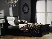 Swan leather single bed