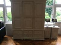 French Style Antique White 3 door Amoire Wardrobe