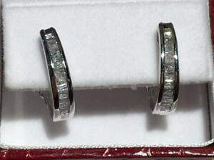 #1510 10K WHITE GOLD OMEGA BACK DIAMOND EARRINGS .47CT TOTAL! JUST BACK FROM APPRAISAL AT $1550.00!