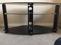 Glass Corner TV 3-tier Stand Unit Black with Chrome Fittings Entertainment